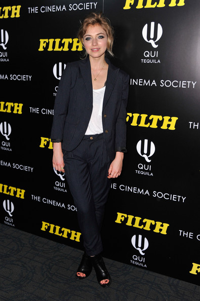 Imogen Poots Pantsuit [clothing,suit,premiere,footwear,outerwear,carpet,event,blazer,pantsuit,shoe,imogen poots,the filth,nyc,magnolia pictures,the cinema society at landmark sunshine cinema,filth screening]