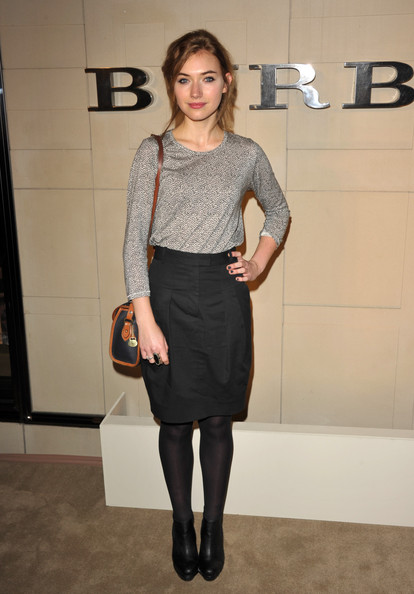 Imogen Poots Knit Top [clothing,dress,fashion,pencil skirt,waist,tights,footwear,cocktail dress,knee,fashion design,arrivals,imogen poots,beverly hills,california,burberry,burberry body launch,event]