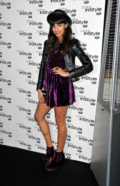 Jameela matched her velvet dress with a pair of plush purple ankle-booties at InStyle Magazine's 10th Anniversary Party in London.