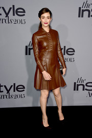 Emmy Rossum was fall-chic in a perforated brown leather dress by Tod's during the InStyle Awards.