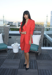 Jameela Jamil opted for a red short suit by Emilia Wickstead when she attended the InStyle Badass Women dinner.