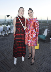 Jennifer Morrison teamed black Giuseppe Zanotti platforms with a floral dress for the InStyle Badass Women dinner.