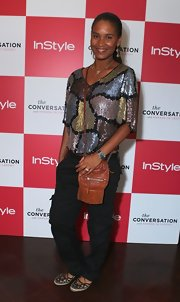 Joy Bryant sparkled in this '80s blouse at the 'InStyle' party.