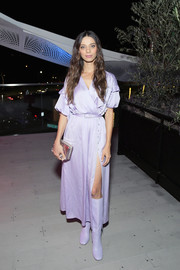 Angela Sarafyan looked lovely in a lavender wrap dress at the InStyle and Kate Spade dinner.
