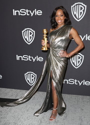 Regina King shimmered in a silver one-shoulder gown by Monique Lhuillier at the InStyle and Warner Bros. Golden Globes after-party.