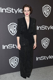 Claire Foy was sparkling in a beaded black pantsuit by Balmain at the InStyle and Warner Bros. Golden Globes after-party.