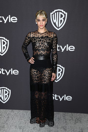 Sofia Boutella sizzled in a sheer black gown by Sonia Rykiel at the InStyle and Warner Bros. Golden Globes after-party.