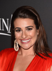 Lea Michele wore her hair down and straight with the top slicked back in a partless style for the InStyle and Warner Bros. Golden Globes party.