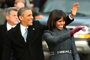 Michelle Obama's purple leather gloves added a lovely pop of color to her ensemble during the Inaugural Parade.