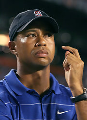 Tiger cheers for his college teams, the Stanford Cardinal.