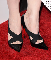 Cate Blanchett wore Christian Louboutin Sharpstagram Criss-Cross Patent Leather Pumps in black at a screening of her film 'Truth' in Beverly Hills.