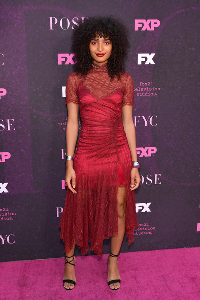Indya Moore Strappy Sandals [clothing,dress,fashion model,shoulder,red carpet,cocktail dress,carpet,hairstyle,fashion,magenta,arrivals,indya moore,pose,fx,west hollywood,california,pacific design center,red carpet,event,red carpet event]