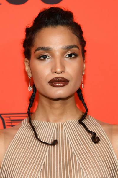 Indya Moore Braided Updo [red carpet,hair,face,eyebrow,lip,hairstyle,chin,forehead,beauty,cheek,fashion,indya moore,time 100 gala,time 100 gala red carpet,jazz,new york city,lincoln center]