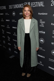 Aubrey Plaza arrived for the Sundance premiere of 'Ingrid Goes West' wearing a mint-green wool coat.