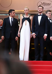 Carey Mulligan's structured jumpsuit featured a contemporary black detail at the bust and a triangular cutout below.