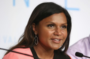 Mindy Kaling wore a lovely pair of dangling diamond earrings at the 'Inside Out' press conference during the Cannes Film Festival.