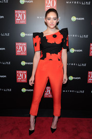Willow Shields attended the InStyle 20th anniversary party wearing a Landero jumpsuit featuring an asymmetrical floral bodice.