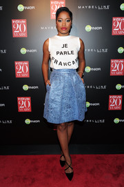 Keke Palmer's tank top looked cuter teamed with a metallic blue Mantu skirt.