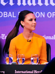 Victoria showed off her long sleek ponytail while attending the Luxury Conference in London, England.