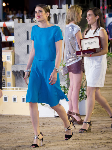 Charlotte Casiraghi styled her look with bejeweled black sandals.