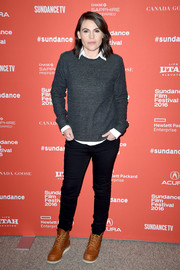 Clea DuVall kept it casual all the way down to her camel-colored lace-up boots.
