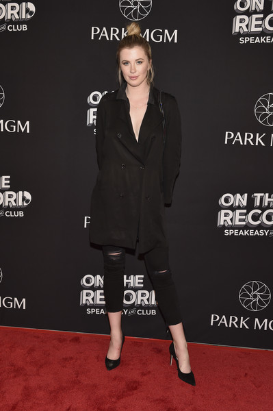 Ireland Baldwin Pea Coat [on the record,clothing,carpet,red carpet,fashion,premiere,footwear,dress,suit,little black dress,flooring,ireland baldwin,speakeasy and club red carpet grand opening celebration at park mgm,model,las vegas,nevada,park mgm,opening,celebration,on the record speakeasy and club]