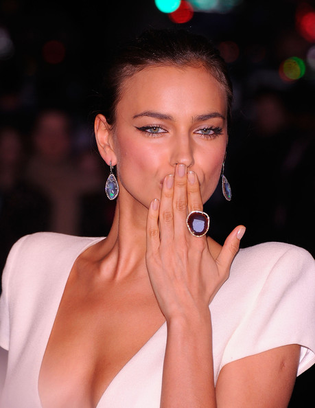 Irina Shayk Gemstone Ring [the hunger games,lip,beauty,nose,eyebrow,skin,cheek,fashion,eye,nail,neck,arrivals,irina shayk,sva theatre,new york city,cinema society,calvin klein collection,screening,cinema society calvin klein collection host a screening]