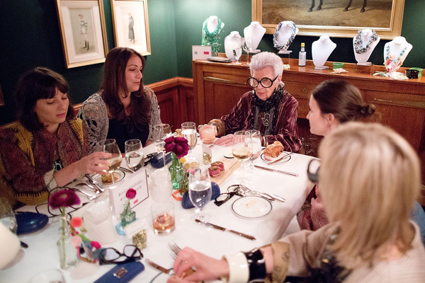 More Pics of Iris Apfel Fauxhawk (5 of 31) - Short Hairstyles Lookbook - StyleBistro [event,meal,lunch,brunch,conversation,supper,dinner,iris apfel,dinner,the polo bar,new york city,hsn collection,iris apfel dinner]