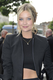 A dainty moon pendant added a subtle sparkle to Laura Whitmore's all-black ensemble at the 'Transformers 4' premiere.