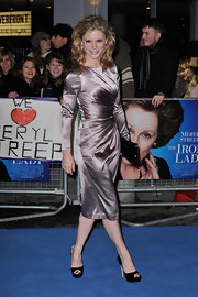 Emilia Fox dazzled in a draped satin frock at 'The Iron Lady' premiere. She topped off her look with classic black peep-toe pumps.
