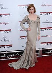 Coco Rocha wore a Victorian evening dress in an ecru brocade for the 'Iron Lady' premiere.