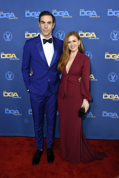 Isla Fisher Evening Dress [suit,cobalt blue,carpet,formal wear,clothing,electric blue,tuxedo,red carpet,pantsuit,event,arrivals,sacha baron cohen,isla fisher,directors guild of america awards,hollywood highland center,california,the ray dolby ballroom,l]
