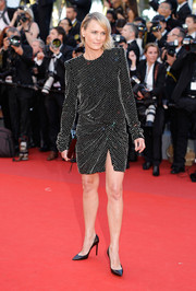 Robin Wright opted for a Swarovski crystal-studded mini dress by Saint Laurent for her Cannes Film Festival opening gala look.