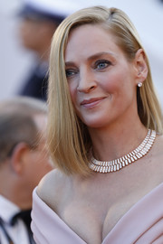 Uma Thurman styled her hair into a simple lob for the Cannes Film Festival opening gala.
