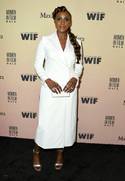 Issa Rae Tuxedo Dress [white,clothing,red carpet,hairstyle,fashion,carpet,premiere,dress,formal wear,suit,women in film annual gala 2019,issa rae,arrivals,socialite,red carpet,fashion,white,clothing,the beverly hilton hotel,max mara,issa rae,model,celebrity,red carpet,supermodel,fashion,socialite,women in film]
