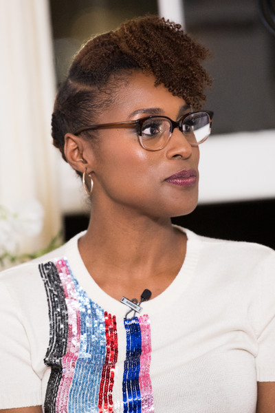 Issa Rae Curly Updo [linkedin hosts a panel discussion with issa rae,hair,eyewear,hairstyle,glasses,forehead,black hair,cool,vision care,pixie cut,chelsea handler,issa rae,california,los angeles,the art of elysium center,panel discussion]
