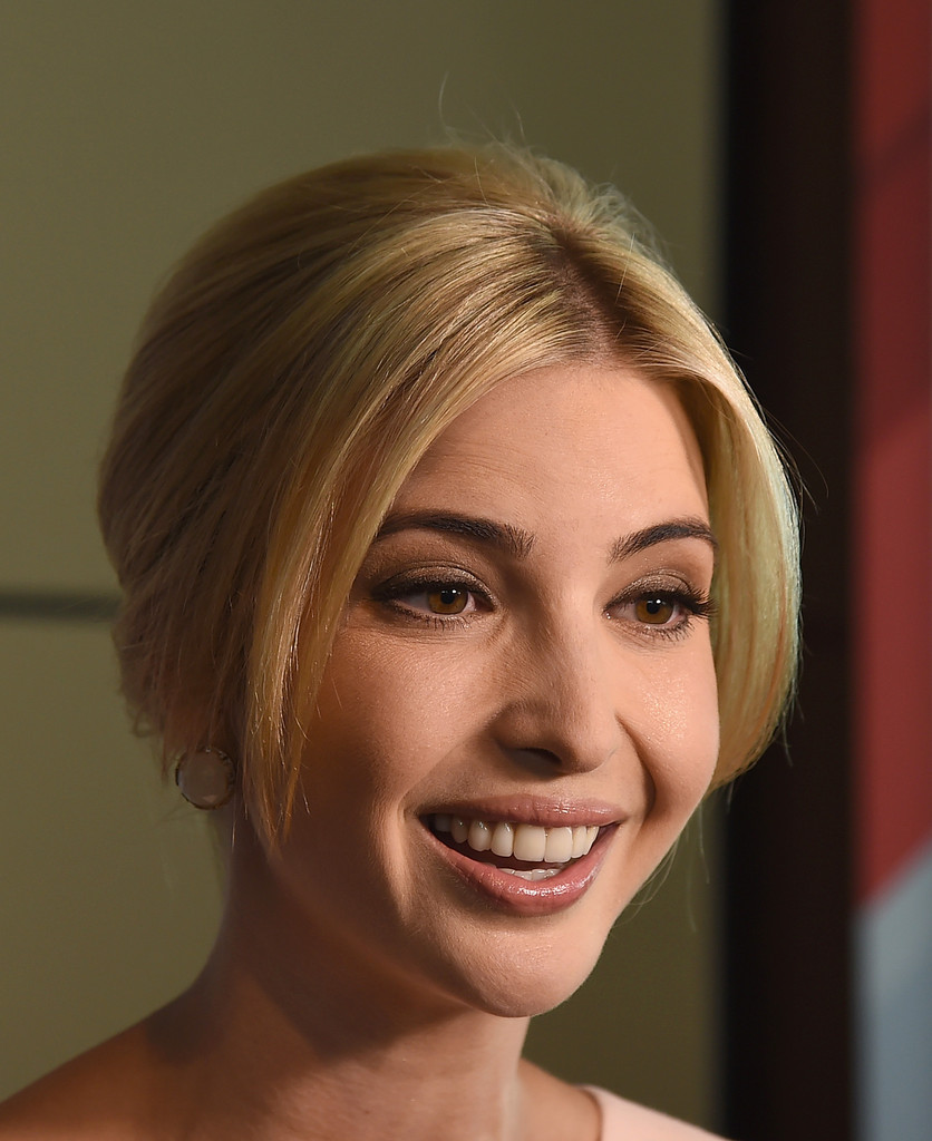 Ivanka Trump Ivanka Trump wore her hair in a loose bun with parted bangs during the Forbes Women's