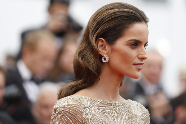 Izabel Goulart Retro Hairstyle [hair,hairstyle,fashion,chignon,beauty,bun,skin,blond,chin,long hair,red carpet arrivals,izabel goulart,amant double,screening,cannes,france,cannes film festival,palais des festivals]