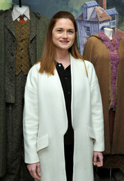 Bonnie Wright visited the 'Harry Potter and Fantastic Beasts' exhibit wearing a classic white wool coat.