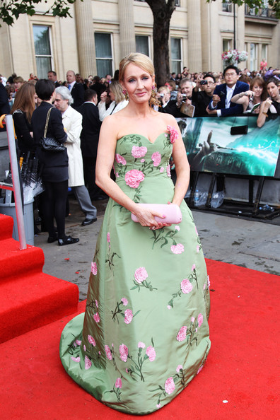 J.K. Rowling Evening Dress [harry potter and the deathly hallows part 2 - world premiere - inside arrivals,deathly hallows part 2,dress,red carpet,gown,clothing,carpet,green,flooring,premiere,event,fashion,j. k rowling,uk,trafalgar square,england,london,tabloid newspapers,world premiere]