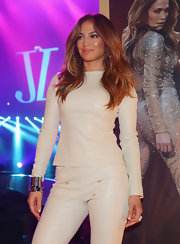 JLo wore this crisp long-sleeve white leather top with coordinating pants to the Rod Laver Arena in Australia.