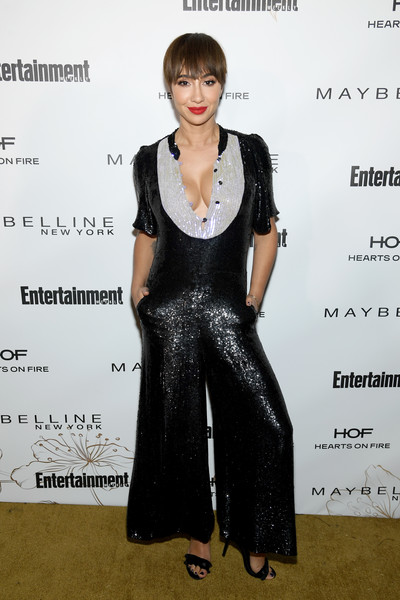 Jackie Cruz Jumpsuit [clothing,dress,hairstyle,fashion,little black dress,carpet,fashion design,cocktail dress,formal wear,flooring,nominees,arrivals,jackie cruz,entertainment weekly celebrates screen actors guild award,chateau marmont,new york,california,maybelline,entertainment weekly,nominees celebration]
