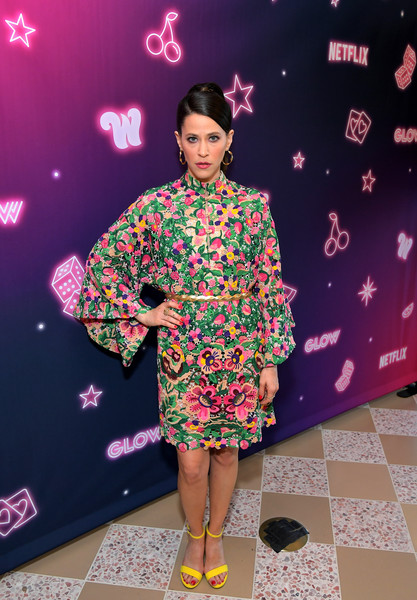 Jackie Tohn Strappy Sandals [glow,clothing,pink,fashion,costume,kimono,magenta,footwear,fashion design,performance,fashion show,jackie tohn,west hollywood,california,the wing,special screening at the wing la]