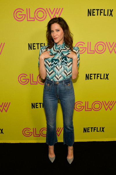 Jackie Tohn Pussybow Blouse [glow celebrates its 10 emmy nominations with roller-skating,clothing,jeans,denim,yellow,fashion,fun,talent show,premiere,style,jackie tohn,nominations,roller-skating,california,los angeles,world,netflix,event,event]