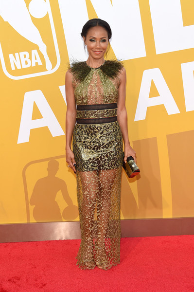 Jada Pinkett Smith Hard Case Clutch [flooring,yellow,fashion model,carpet,red carpet,fashion,catwalk,fashion design,gown,jada pinkett smith,nba awards live on tnt - arrivals,nba awards,new york new york,tnt]
