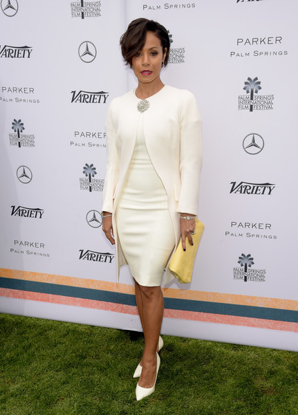 Jada Pinkett Smith Leather Clutch [clothing,white,dress,cocktail dress,fashion model,yellow,shoulder,fashion,red carpet,footwear,directors,jada pinkett smith,creative impact awards,palm springs,california,variety,mercedes-benz,brunch,palm springs international film festival]