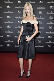 Soo Joo Park slipped into a Blumarine cold-shoulder LBD with nude fur trim for the Jaeger-LeCoultre gala dinner at the Venice Film Festival.