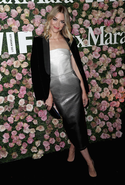 Jaime King Strapless Dress [2017 women in film max mara face of the future award,clothing,pink,shoulder,dress,fashion,joint,carpet,formal wear,footwear,flooring,arrivals,jaime king,max mara celebrates zoey deutch,recipient,the 2017 women in film max mara face of the future award recipient,zoey deutch,chateau marmont,california,max mara celebration]