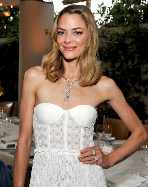 Jaime King Nail Art [diamond,clothing,hair,dress,strapless dress,hairstyle,long hair,beauty,fashion,blond,gown,lucy hale cover with real,haute living celebrates,actress,lucy hale,cover,haute living,waldorf astoria beverly hills,real,celebration]