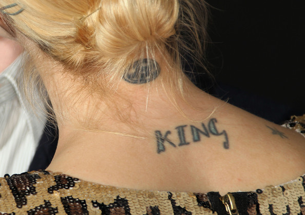 Jaime King Lettering Tattoo [hair,neck,tattoo,shoulder,temporary tattoo,hairstyle,joint,back,arm,ear,arrivals,actress,jaime king,style,uk style,tattoo detail,uk,california,french connection celebrates lexington social house launch,launch]